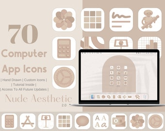Computer App Icons Nude 2.0 Aesthetic | App Icon Pack  | Aesthetic Application Program Icons | OS App Icons | Warm Beige Neutral Tones