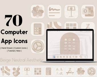 Beige Nude Neutral Computer App Icons | 2021 Application Icon Covers  | Aesthetic App Icons
