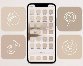 Nude Neutral 2.0 App Icon Pack | iOS 14 iOS 15 | Warm Beige Nude Neutral Aesthetic | 500 App Icons | Photo Widgets | Customize Home Screen