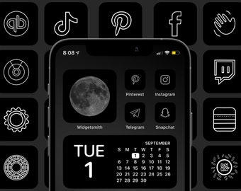 Minimal Charcoal Icon Aesthetic Pack | Black and White App Icons | IOS 14 Customize Home Screen | Widget Smith Widgets Cove The Design