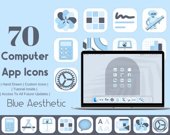 Computer App Icons Blue Aesthetic | App Icon Pack  | Aesthetic Application Program Icons | OS App Icons