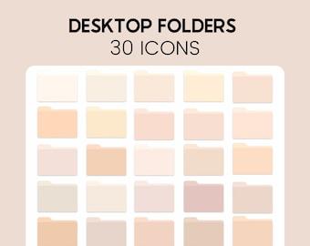 30 Trendy Desktop Folder Icons, Aesthetic Folders, Custom Computer Folders, Neutral, Computer Folder Icons, Desktop, Customize Desktop