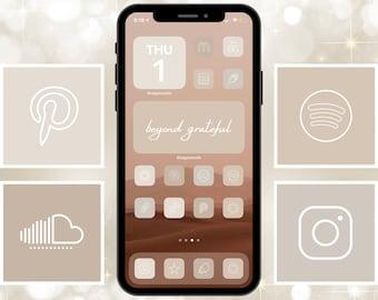 350 Nude Neutrals App Icon Pack | IOS 14 | Cream Beige Aesthetic | Quote Photo Widgets | Customize Home Screen | Widget Smith | Thin Icon