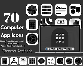 Computer App Icons Charcoal Black Aesthetic, App Icon Pack,  Aesthetic Application Program Icons, OS App Icons, Black Icons