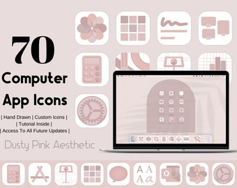 Computer App Icons Dusty Pink Aesthetic | App Icon Pack  | Aesthetic Application Program Icons | Muted Pink Purple |