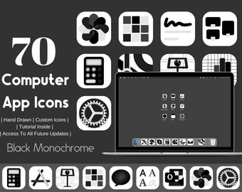 Computer App Icons Charcoal Dark Monochrome Aesthetic, App Icon Pack,  Aesthetic Application Program Icons, OS App Icons, Black and White
