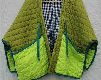 QUILTED JACKET Size M Colourblock with Natural Trim and Black Gingham Lining ready to ship