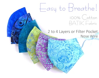 Batik 100% Cotton 2 to 4 Layers or 3 Layers of Filter Pocket Hand Dyed 3D Nose Wire Washable/Adjustable Easy to Breathe Face Mask