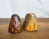 Incredible Mid Century Stoneware Hand Made Salt and Pepper Shakers.