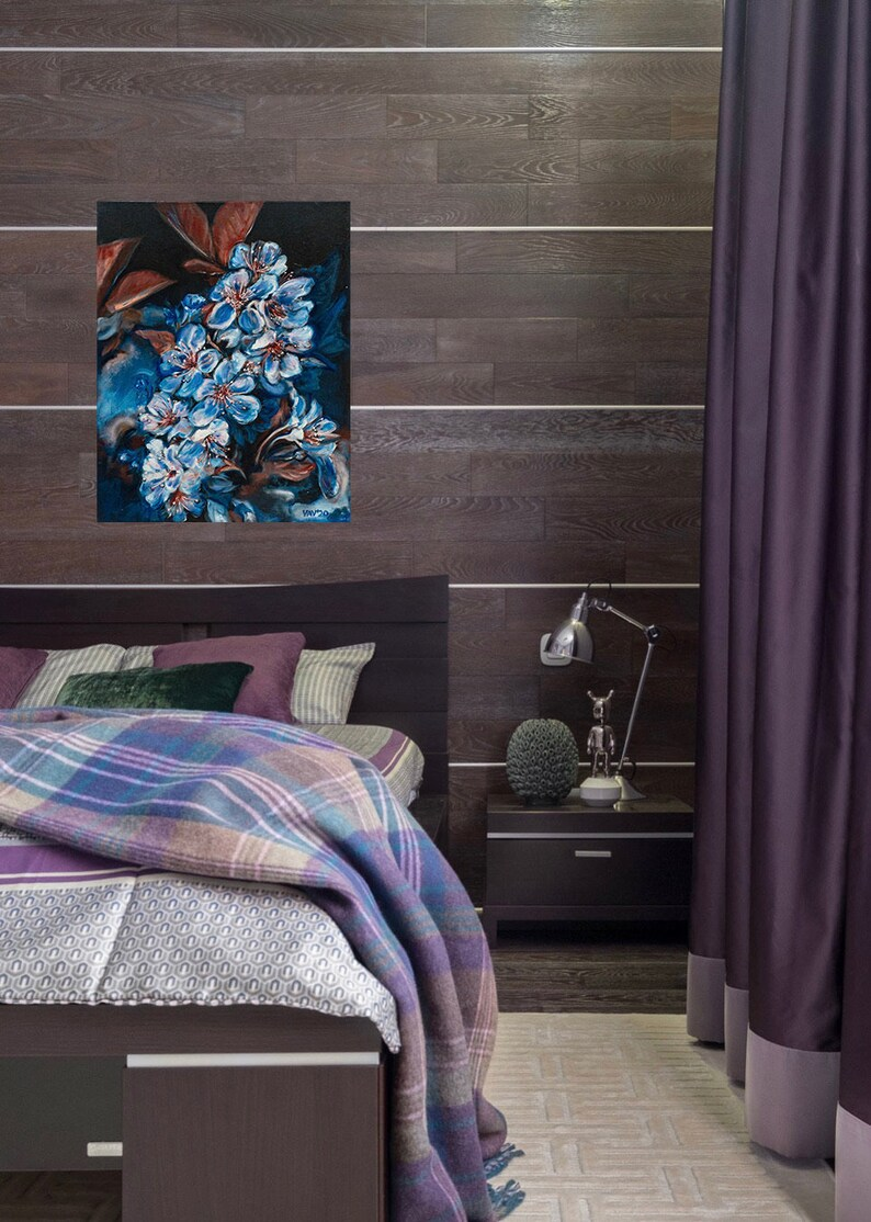 Cherry blossom painting original Japanese blossom art Floral oil painting on canvas wall decor living room and kitchen or above the bed.