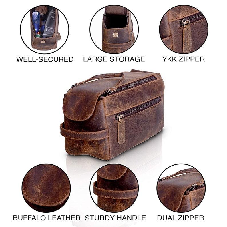Distressed Tan Genuine Buffalo Leather Unisex Toiletry Bag Travel Dopp Kit