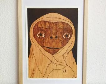 E.T. Movie Poster / Riso Print by Moki