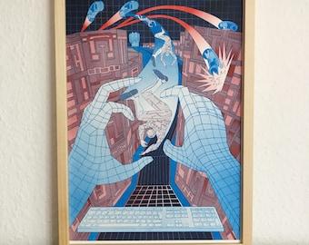 TRON Movie Poster / Risograph Druck