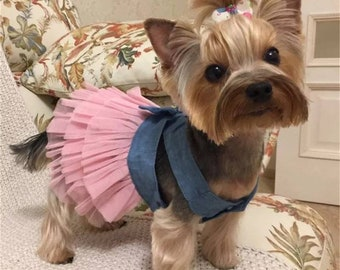 Tulle Small Dog Denim Dress, Dresses for Dogs, Pet Clothing, Tutu Puppy Dress