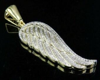 Hip Hop Pendant Statement Pendant 0.35 Ct Simulated Diamond Single Angel Wing Pendant Charm 14k Yellow Gold Fn Silver Customize Jewelry