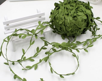 2 Meters Leaf Leaves Trim Satin Ribbons for DIY Decors Gifts Wrapping Green