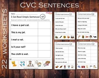 Phonics Worksheets, CVC Sentences, I Can Read Simple Sentences, Kindergarten/First Grade, Reading Practice , Sentences For Beginners,