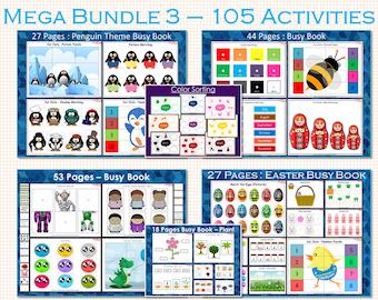 Busy Book Bundle for Toddler, Toddler Busy Book, Preschool Busy Book Bundle 3, 100 Busy Book Pages, Busy Binder For Kindergarten, Homeschool