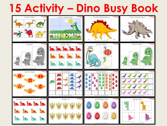 Dinosaur Busy Book Printable for Toddlers and Pre-schoolers
