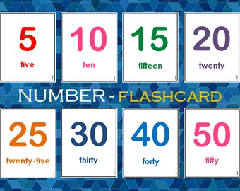 Number Flashcards, 1- 50 Number Words Flashcards Printable For Toddlers, Preschoolers, Kindergartener, Homeschool
