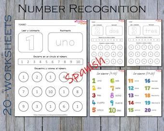 Spanish Number Worksheets Printable, Number Recognition Preschool Worksheets, Kindergarten Math Worksheets, Montessori Worksheets