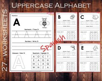 Spanish ABC Worksheets for Kids, Pre-schoolers, Kindergarteners, Home-schooling, Spanish Printable, Handwriting Practice, Coloring, PDF