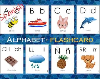 Spanish Alphabet Flashcards Printable, Spanish Alphabet Flash Cards For Toddlers, Preschooler, Abecedario For Montessori, Beginning Sounds