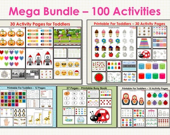 Busy Book Mega Bundle for Toddler, Preschool Mega Busy Book Bundle 1, 100 Activity Pages, Busy Binder For Kindergarten, Busy Book Pages