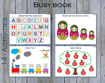 Busy Book, Toddler Busy Book, Preschool Learning Binder, Busy Book Printable, PreK Busy Book, Montessori Activity Book, Basic Concepts