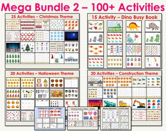 Busy Books Mega Bundle for Toddlers and Preschooler, Mega Busy Book Bundle - 2, 106 Activity Pages, Busy Binder For Kindergarten, Busy Book