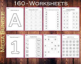 Toddler Worksheets, Kindergarten Printable, 160 Alphabet & Number Worksheets, Preschool Worksheets, Montessori Workbook, Worksheets For Kids