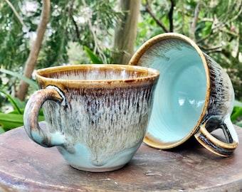 Aqua coffee cup handmade ceramic pottery