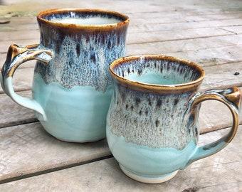 Aqua mug handmade ceramic pottery