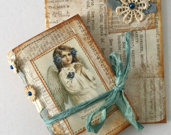 Miniature Christmas pocketbook, Christmas daily, holiday journal, blank handmade book, planner, junk journal, Mini album, notebook