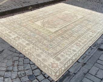 Beige Turkish Rug,Beige Vintage Rug,Floor Rug,Area Rug,Turkish Rug,Tribal Rug,Nomadic Rug,Natural Rug,Decorative Rug,Handmade rug,7.2x4.4 Ft