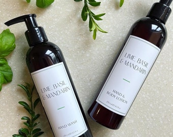 Lime, Basil and Mandarin. Hand Wash and Hand & Body Lotion. Luxury. Vegan Friendly. Cruelty Free. Sustainable Packaging. Amber Bottle.