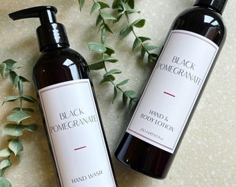 Black Pomegranate. Hand Wash and Hand & Body Lotion. Luxury. Vegan Friendly. Cruelty Free. Sustainable Packaging. Amber Bottle.