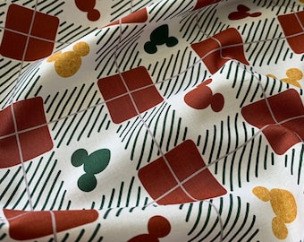Disney Christmas Mickey Check - Mickey Mouse 100% Cotton Fabric - Half Metre/Metre