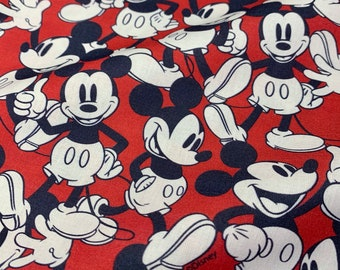Disney Red Happy Mickey Mouse 100% Cotton Fabric - Half Metre/Metre
