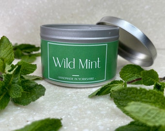 Wild Mint Scented Candle, Handcrafted and Handmade. Revive + Restore. Mint and Fresh Scented Candle. Vegan. Natural Wax.