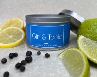 Gin and Tonic Scented Candle, Handcrafted and Handmade. Refresh + Unwind. Citrus and Fresh Scented Candle. Vegan. Natural Wax.