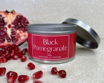 Black Pomegranate Scented Candle, Handcrafted and Handmade. Elevate + Inspire. Vegan. Natural Wax.