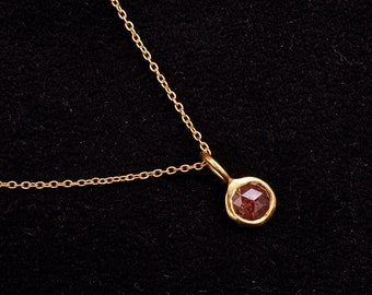 Red Rosecut Diamond, Diamond Pendent, 14K Solid Gold Necklace, Minimalistic Jewelry, Diamond Necklace, Mother's Day Gift