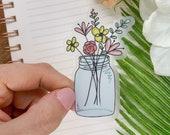 Mason Jar Sticker, Car Sticker, Flower Car Decal, Die Cut Sticker, Vinyl Sticker, Wedding Guest Gift, Water Bottle Sticker, Laptop Decal