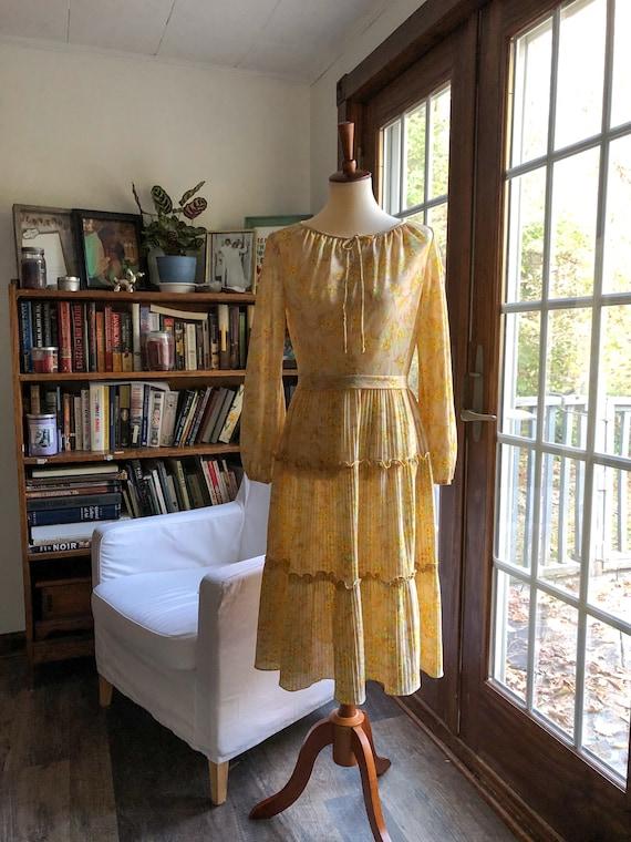 Vintage handmade 1970's floral yellow prairie dres