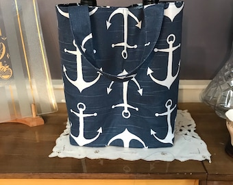 Handmade Navy Anchor Double Wine Bag Nautical Whale Lining 100% Cotton
