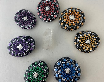 Large chakra balancing mandala stones Rainbow mandala stones Red orange yellow green blue purple mandalas Full chakra mandala set