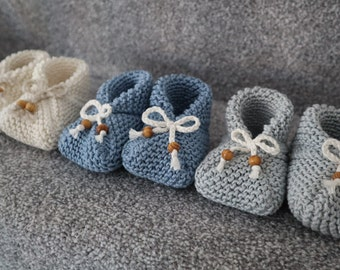 Hand Knitted Premium Baby Booties, 0-3 months, Cotton & Bamboo Yarn. Available in Grey, Pink,Cream and Blue. Baby Shoes, Shipped in Gift Bag