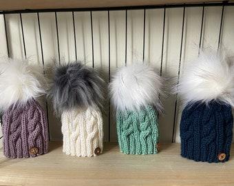 Hand Knitted Baby Pom Pom Hat