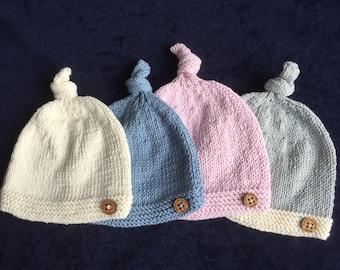Hand Knitted Newborn tie knot hat